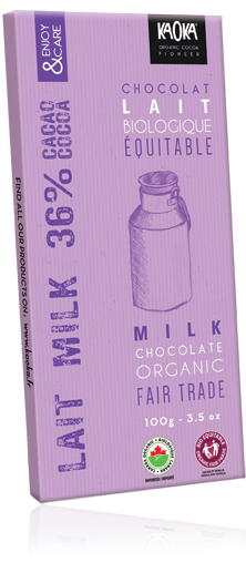 Chocolat lait 36% bio équitable