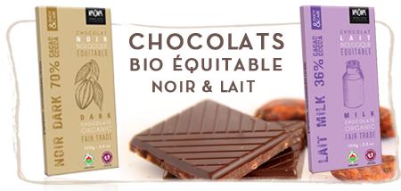 Chocolat bio équitable noir et lait